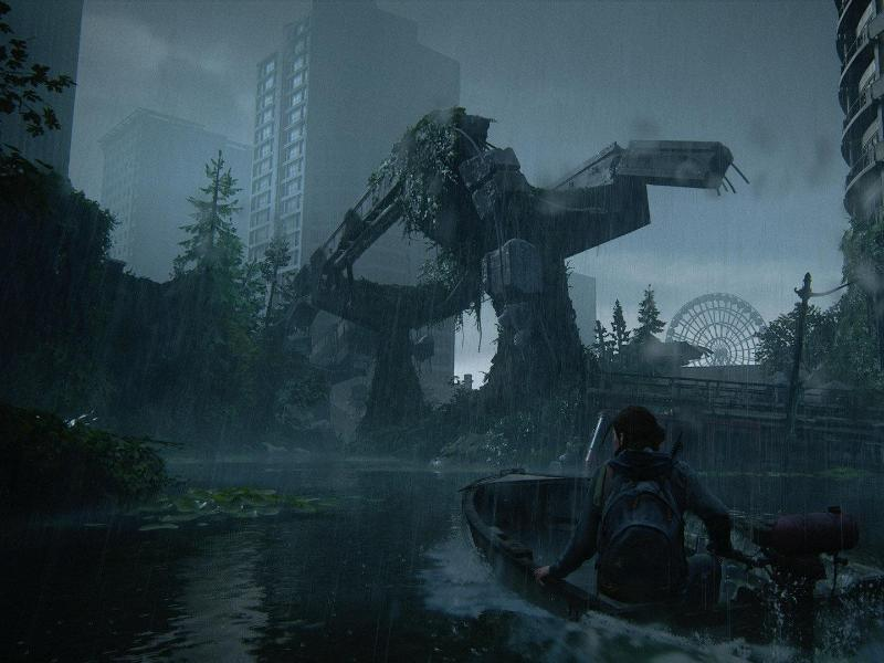 Die US-Metropole Seattle ist in «The Last of Us Part 2» völlig überflutet. Manchmal geht es daher nur per Boot weiter. Foto: Sony Computer Entertainment/dpa-tmn                                 Sony Computer Entertainment
